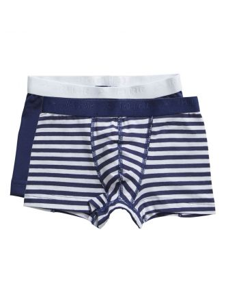 Ten Cate Jongens Boxershort 2Pack Stripe and Medieval Blue 2-10Y Boys