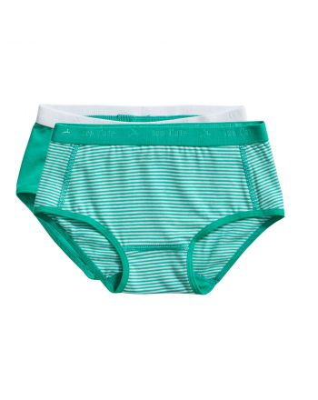 Ten Cate Meisjes Brief Slip 2Pack Stripe and Mint 2-10Y Girls