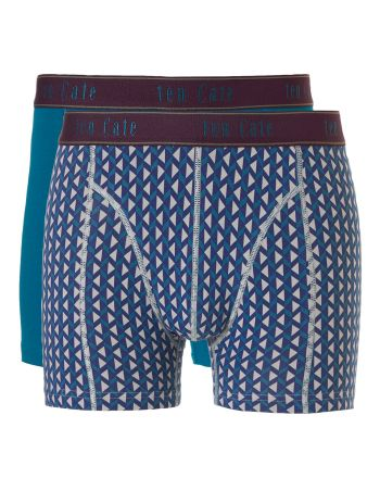 Ten Cate Men Fine Boxershort 2Pack Petrol and Grey Triangles
