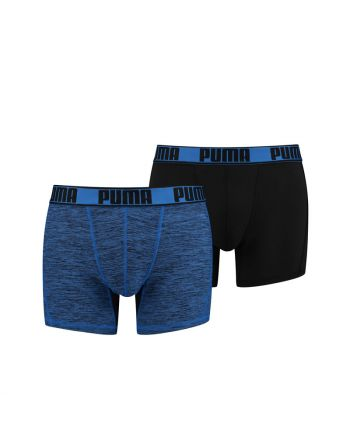 Puma Active Boxer Grizzly Melange Blauw 2Pack Heren Short