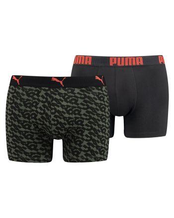 Puma Boxershort 2Pack Logo AOP Army Groen