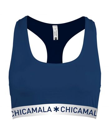 ChicaMala Flower Power Navy Racerback Top Dames Ondergoed