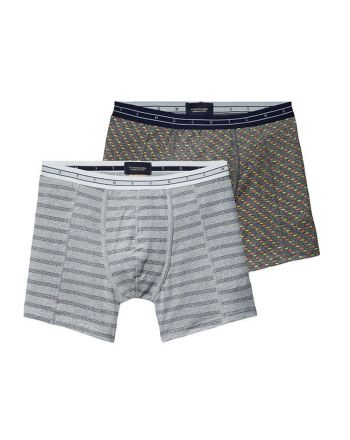 Scotch & Soda heren 2pack Grey Melange and print