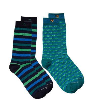 Scotch & Soda sokken 2pack Stripe/Flower Green