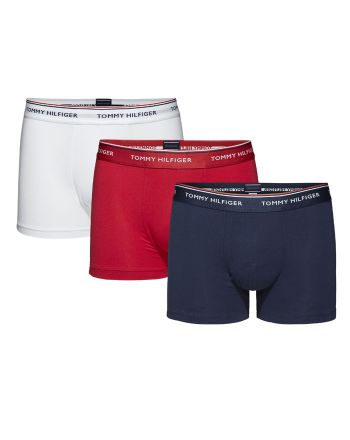 Tommy Hilfiger Trunk boxershorts 3pack rood wit blauw
