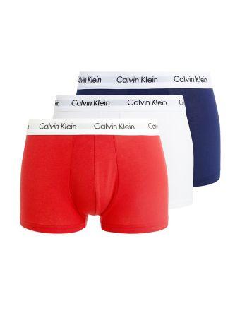 Calvin Klein heren 3pack lowrise Trunk rood wit navy