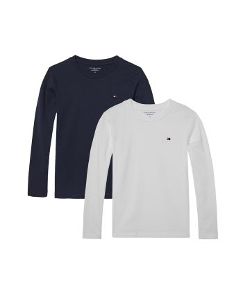 Tommy Hilfiger jongens T-shirts lange mouw Navy & Wit