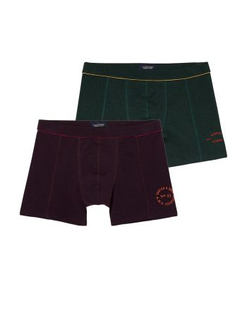 Scotch and Soda heren 2pack Solid Green/ Bordeaux