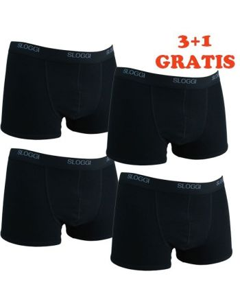 Sloggi Men Basic Short Black 4Pack, 3+1 gratis