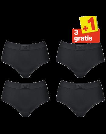 Sloggi Double Comfort Maxi 4 pack Zwart 3+1 Gratis