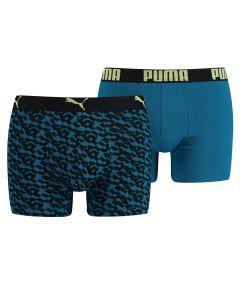 Puma Boxershort 2Pack Logo AOP Petrol Blauw
