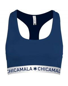 ChicaMala Flower Power Navy Racerback Top Dames Ondergoed