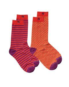 Scotch & Soda heren sokken 2 paar Stripes & Flower red