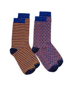 Scotch & Soda heren sokken 2 paar Stripes & Leaves