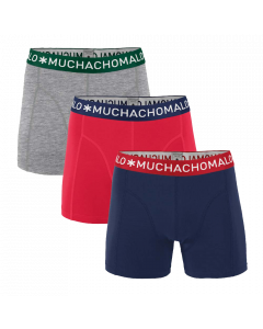 MuchachoMalo 3Pack SOLID 281 Greymelee Red Blue Jongens Boxershorts