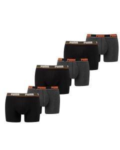 Puma Boxershort 6 pack Basic Stripe Elastic Zwart Oranje