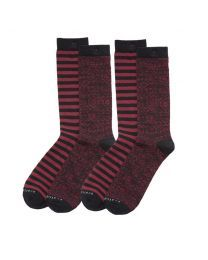 Scotch & Soda sokken 2pack Bordeaux Stripes