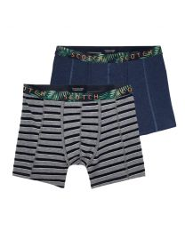 Scotch and Soda heren 2pack Printed waistband navy/grijs